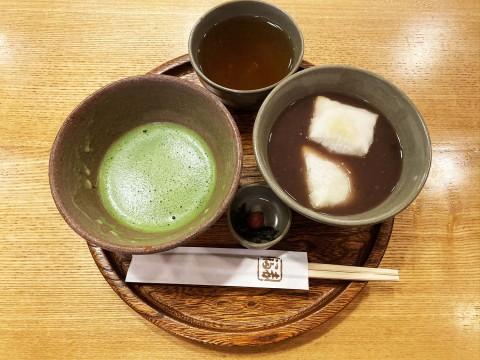 【グルメ】伊勢名物 赤福の特製ぜんざいが食べられる茶屋 / 抹茶と一緒に作りたての赤福を